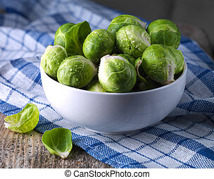 Brussels sprouts cabbage in a bowl