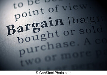 Bargain - Dictionary definition of the word Bargain.