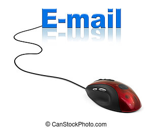 Computer mouse and word E-mail - communication concept
