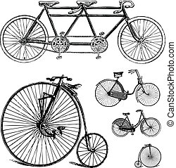 Vector Clipart Retro Bicycle Set - Easy to edit! Vintage...