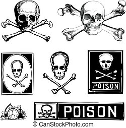 Vector Skulls Crossbones and Poison Clipart