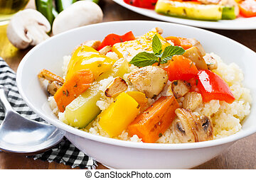 Cous cous with veggies - fresh cous cous with grilled...