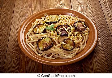 Pasta alla norma.recipe with tomato sauce, eggplant .ational...