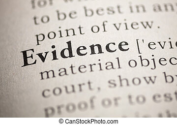 Evidence - Fake Dictionary, Dictionary definition of the...