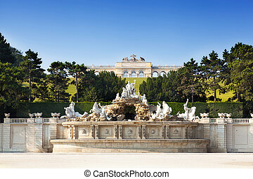 View on Gloriette structure and Neptune fountain in...