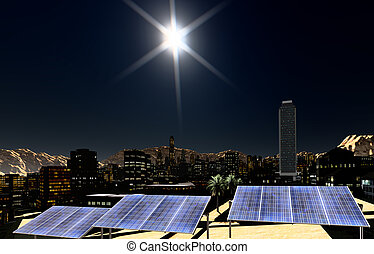 Solar panels in city - Solar panels in the city