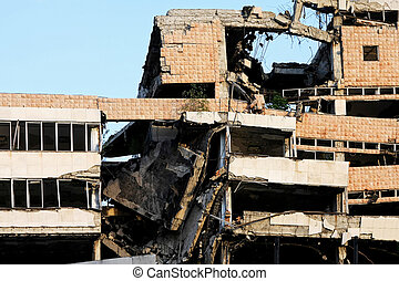 Earthquake building - Ruined big building after strong...
