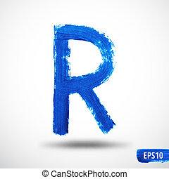 Alphabet Letter R. Watercolor Alphabet. Vector Background