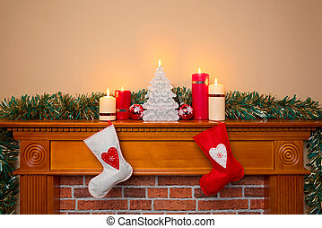 Christmas stockings over a fireplace - Christmas stockings...