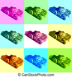 tanks - Russian tanks illustration in pop art style