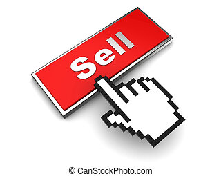 sell button - 3d illustration of button with label 'sell'...