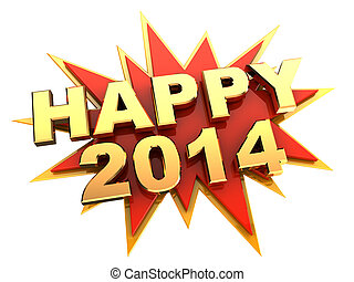 happy new year - 3d illustration of text happy 2014, new...