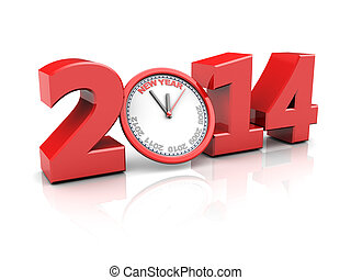 new year countdown - abstract 3d illustration of text 2014...
