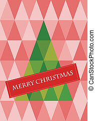 retro pattern of geometric shapes with christmas tree.