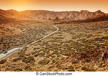 Desertic Road in Orotava Valley, Tenerife, Spain