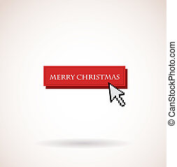 merry christmas button with computer arrow