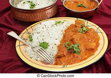Rogan josh meal - Lamb rogan josh, served with jeera (cumin)...