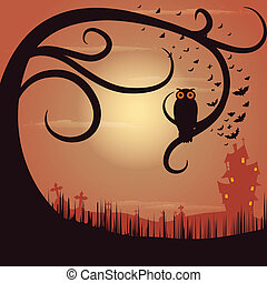 Owl Sitting on Tree in Halloween Night - easy to edit vector...