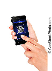 hand holding mobile phone with qr code screen isolated over white background