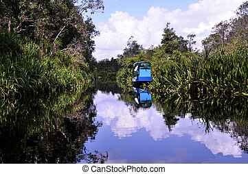 Boat on Riverside - Reflection on the river near orangutan...