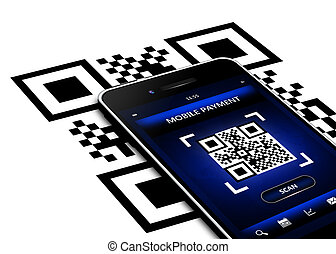 mobile phone with qr code screen isolated over white...