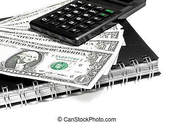 calculator and dollars on notebook on white background