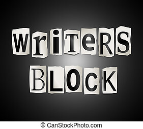 Writers block - Illustration depicting a set of cut out...