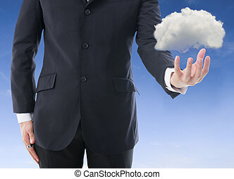 business man with cloud computer concept photo