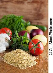 Tabbouleh ingredients - Fresh ingredients for tabbouleh on a...