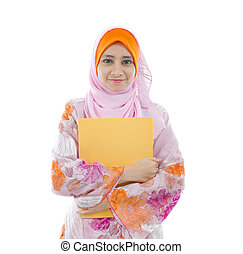 malay indonesian college girl holding a folder with white...