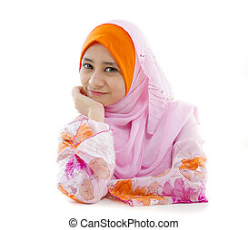 malay muslim girl closeup in headscarf and white background