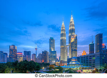 Petronas Twin Towers at blue hour