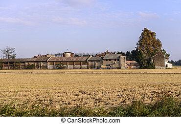 Bereguardo (North Italy) Farm with rice field