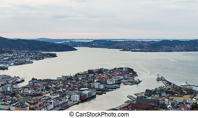 Sunset over the fjords Bergen, Norway TimeLapse