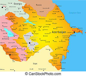 Map of Azerbaijan - Vector illustration of Azerbaijan Map