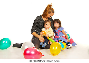 Happy mom with two kids