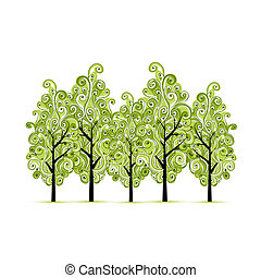 Green grove with trees for your design