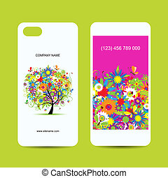 Mobile phone cover back and screen, floral tree for your...