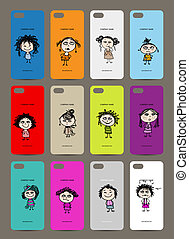 Mobile phone cover back , 12 funny girls for your design