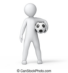 footballer, 3d image with work path