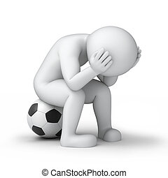 sad footballer, 3d image with work path