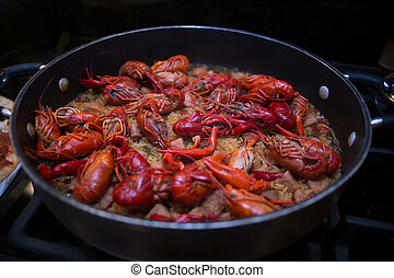 Crawfish Jambalaya Ingredients - A beautiful skillet full of...