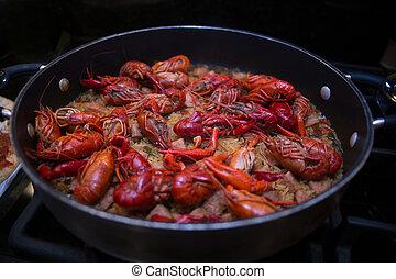Crawfish Jambalaya Ingredients - A beautiful skillet full of...