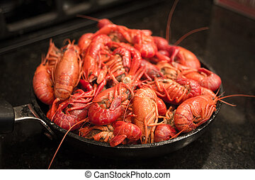 Skillet Full of Crawfish - A beautiful red skillet full of...