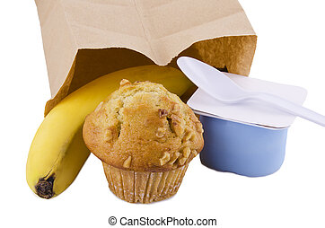 Healthy snack - Delicious and healthy snack with paper bag,...