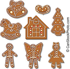 gingerbread set - Set of different gingerbread figures on a...