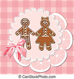 gingerbread mans - Gingerbread men - a girl and a boy. Pink...