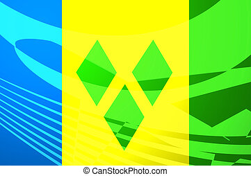 Flag of Saint Vincent and Grenadines air travel illustration...