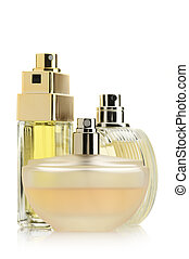 Three perfumes - Three perfume bottles isolated on white...