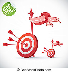 Arrow Hitting Directly In Bulls Eye Illustration, Sign,...